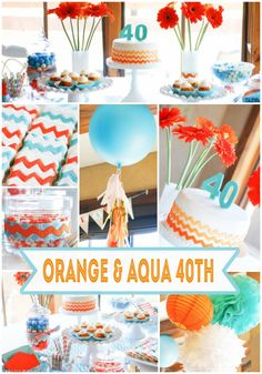 Orange and Aqua 40th Birthday Party Ideas from Paisley Petal Events. #40thbirthdayparty #40thforher #orangeandaqua
