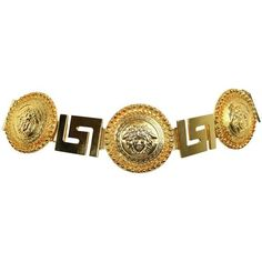 Preowned Gianni Versace Medusa Gold Chain Belt (23,895 MXN) ❤ liked on Polyvore featuring accessories, belts, versace, brown, vintage belts, versace belt, adjustable belt and brown belt