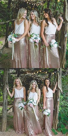 2017 gorgeous bridesmaid dress, that is two piece mermaid long rose gold sequins long bridesmaid dress