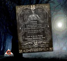 Spooky Halloween Skeleton Invitation Template by WAGlacierGraphics