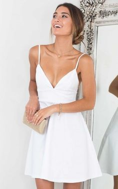 Classic White V-neck Homecoming Dress,Spaghetti Strap Party Dress,Cocktail Dress sold by SeventeenProm. Shop more products from SeventeenProm on Storenvy, the home of independent small businesses all over the world. Simple Homecoming Dresses, Hoco Dresses, Dance Dresses, Pretty Dresses, Sexy Dresses, Dress Outfits, White Graduation Dresses, Elegant Dresses, Wedding Dresses