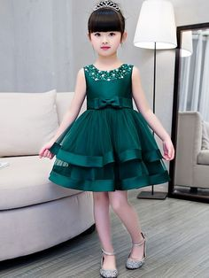 Just Shop for Bow Sequined Contrast Mesh Round Collar Sleeveless Mini Dress from Baby Girl Birthday Dress, Baby Girl Party Dresses, Wedding Flower Girl Dresses, Dresses Kids Girl, Dress Girl, Dress Party, Dress Anak, Cute Little Girl Dresses, Kids Dress Patterns