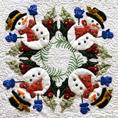 Applique Christmas snowman quilt block by Miriam L Meier