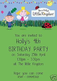 10 personalised ben & #holly children #birthday party invitations #little kingdom,  View more on the LINK: 	http://www.zeppy.io/product/gb/2/221743241944/