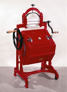 The 'Vowel Y' washing machine and wringer, ~ This popular model was made in many sizes by Thomas Bradford of London