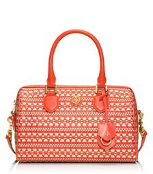 Tory Burch ROBINSON WOVEN SATCHEL in Coral