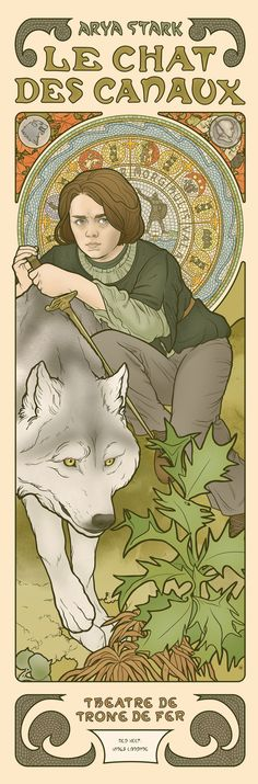 Arya Stark - Game of Throne - Art Nouveau by Elin Jonsson