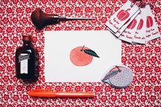Vintage Mandarin  Handcarved & Handprinted by PaprikaPaperGoods