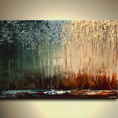 Modern Palette Knife Landscape Painting Blue Brown by OsnatFineArt