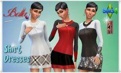 """Annett`s Sims 4 Welt: Shirt Dresses """"Bella"""" • Sims 4 Downloads"""
