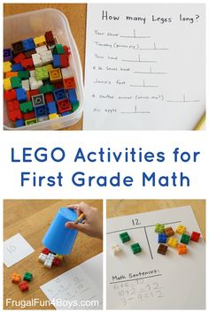 Here are some hands on ideas for learning first grade math concepts with Legos!  Practice addition, greater than and less than, and measuring.  My first grader really enjoys kinesthetic learning.  We don't do something like this every day (or even every week sometimes!) but he is much more engaged when we do. Greater Than/Less Than …