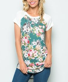 Another great find on #zulily! Sage Floral Crewneck Top - Plus #zulilyfinds