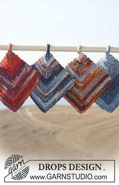 DROPS Crochet Potholders In Muskat Soft Pair Of Free Pattern By Design