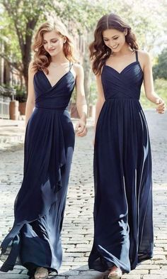Long Cheap Chiffon Navy Blue Bridesmaid Dress Spaghetti Strap Bridesmaid Dresses PB10038