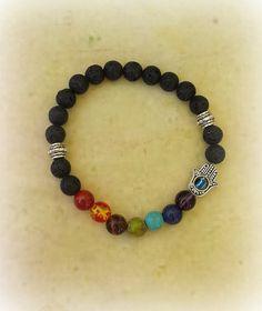 Hamsa Chakra Bracelet, 7 Chakra, Lava Bracelet, Meditation, Aromatherapy Bracelet, Reiki Healing, Hamsa Hand Bracelet, Crystal Healing by TheWitchesCurio on Etsy