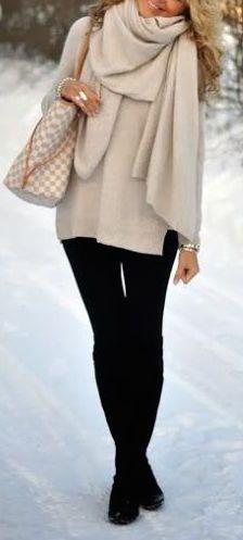 #winter #fashion / cream knit layers