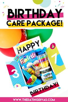 Printables to make your own DIY long distance birthday care package! Birthday Box, Birthday Treats, Birthday Party Themes, Birthday Care Packages, Birthday Traditions, Birthday Backdrop, Personalized Birthday Gifts, Dating Divas, Jar Gifts