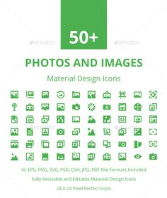 50+ Photos and Images Material Icons  — EPS Template • Only available here ➝…