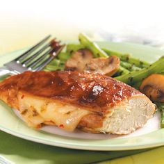 Barbecue Jack Chicken ~ Grilling season is on the way! Don't get caught without a crowd-pleasing recipe on Memorial Day. The simple prep and easy ingredients make these chicken breasts a top pick for busy cooks.  Pepper Jack cheese from the deli and bottled barbecue sauce are all you need to dress up these simple grilled chicken breasts. —Taste of Home Test Kitchen