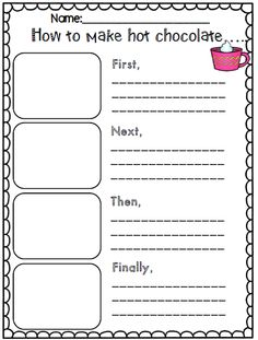 How to make hot chocolate writing part of winter writing common core activity set 1st Grade Writing, Kindergarten Writing, Teaching Writing, Writing Topics, Writing Prompts, Literacy, Writing Ideas, Procedural Writing, Sentence Writing
