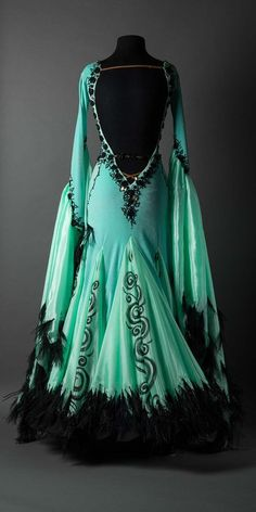 Mint velet standard with flowers and black feathers Perfect standard dress Beautiful Gowns, Beautiful Outfits, Pretty Outfits, Pretty Dresses, Mode Harry Potter, Fantasy Gowns, Ballroom Dress, Ballroom Dancing, Fashion Mode