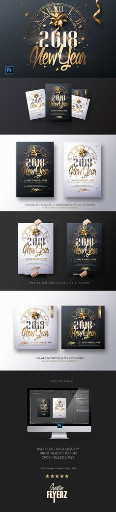 Awesome ! New Year Invitation - Psd Package #fashion #newyear #new #year #gold #classy #christmas #template #invitation #cards #art #print #shopping