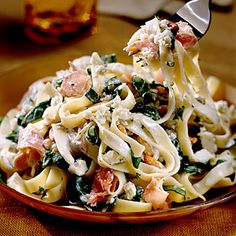 Easy Pasta Recipes: Fettuccine with Blue Cheese Sauce - Easy Pasta Dinner Recipes - Southern Living