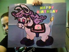 I'm doing a monster high birthday party for my girls in November 2012, this is my monster high take on pin the tail on the donkey, its blood good's horse nightmare, granted it looks more like a my little pony, but it works, i just painted over the picture of the donkey with acrylic paints and made my own skullete stickers, i'm not painting the tail stickers to match(cause that's too much added work) Any one else have monster high party theme ideas, please post:)