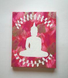 Hippie Bohemian Buddha inspired acrylic canvas by StarrJoy16