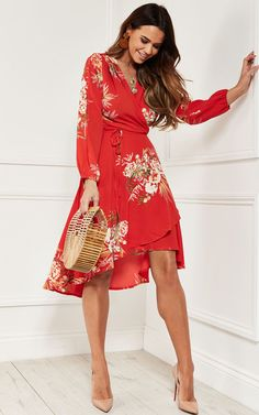 4005f5f7da29 Wrap Dress With Split Sleeve In Red Floral | Lilah Rose | SilkFred
