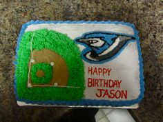 Toronto Blue Jays Cake - For Brother-in-law. 7th Birthday, Birthday Cakes, Birthday Ideas, Happy Birthday, Sports Party, Toronto Blue Jays, Masons, Cake Ideas, Cake Recipes