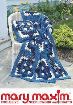 Crochet this afghan and pillow set using Mary Maxim Baby Cashmere yarn.