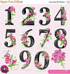 80% OFF Venta florales números Imágenes Prediseñadas clipart