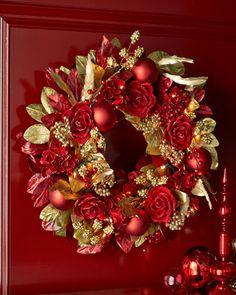 "Crimson+&+Gold+Pre-Lit+28""+Christmas+Wreath+at+Neiman+Marcus."