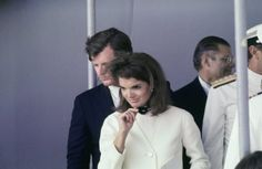 I always loved this white outfit with the polka dotted scarf on Jackie.......I remember it from the 60s.