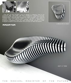 "Designer's own words:  ""The aim of the project was to design a radiator that in its minimal size will give off the maximum heating power. Additionally it can be used as a seat, table or shelf, or it can be treated as a decorative object. In the project was used a solution that is well-known cooling device in electronics (radiator). Radiators give off heat effectively thanks to their irregular shapes that increase the surface of heat emission."""
