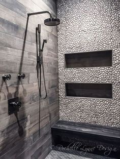 Wood look tile and pebbles in shower, bench seat of stone, large shower niches Wood Tile Shower, Grey Bathroom Tiles, Shower Niche, Basement Bathroom, Bathroom Colors, Bathroom Flooring, Bathroom Ideas, Grey Tiles, Wood Tiles