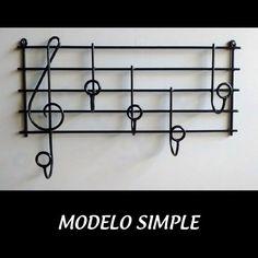 Perchero Pentagrama Musical, Artesanal, Modelo Simple - $ 390,00
