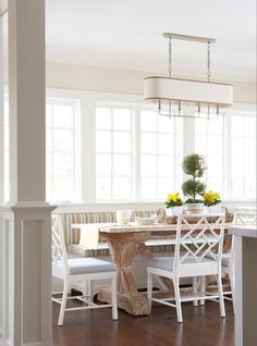 19 Ways to Create a Cozy Breakfast Nook. beach style dining room by MuseInteriors