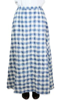 Cotton Walking Skirt - Blue Plaid $64.95