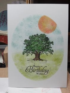 Stampin' Up! Lovely As A Tree masked watercoloured card.  Check out my blog amethystarcrafting.blogspot.com for more ideas