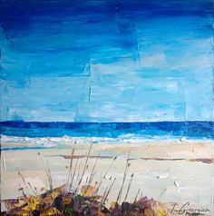 Original oil painting - Beach landscape 'Coastal no.5' 20x20 ready to hang. Seascape, blue, ultramarine, cobalt.. $200.00, via Etsy.