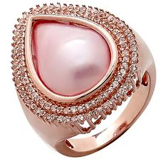 Mabe Pearl & White Topaz Sterling Silver Halo Ring - ROSE GOLD/PINK