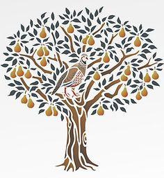 Partridge in a Pear Tree Stencil