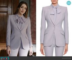 Alexander McQueen Fitted Flap-Pocket Wool-Silk Blazer worn by Fallon Carrington (Elizabeth Gillies) on Dynasty Fashion Tv, Gossip Girl Fashion, Suit Fashion, Fashion Outfits, Red Floral Dress, Lilac Dress, Tie Neck Blouse, Blouse Dress, Casual Work Outfits