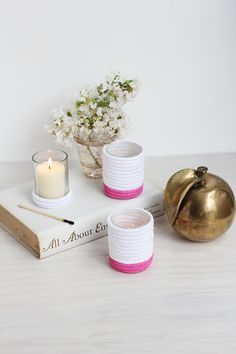 How to make easy rope covered and painted votive candle holders.