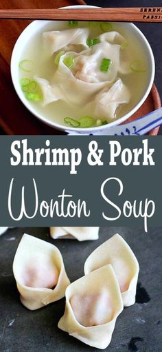 Making your favorite Asian takeout recipes such as this Shrimp and Pork Wonton Soup is a breeze with the help of an awesome ebook thats full of easy flavorful recipes. 174 calories and 4 Weight Watchers SP Best Soup Recipes, Chowder Recipes, Seafood Recipes, Cooking Recipes, Healthy Recipes, Healthy Chinese, Chinese Food, Chinese Desserts, My Favorite Food