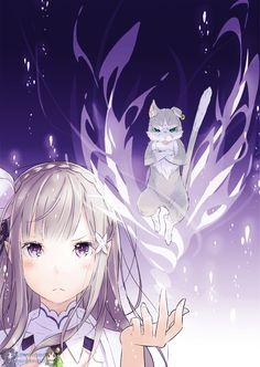 Re:Zero kara Hajimeru Isekai Seikatsu - Emilia dan Puck Sad Anime, Me Me Me Anime, Kawaii Anime, Manga Anime, Anime Art, Subaru, Ram And Rem, Hirunaka No Ryuusei, Image Manga