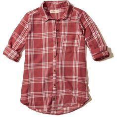 Hollister Burnout Button-Front Shirt ($40) ❤ liked on Polyvore featuring tops, red plaid, tartan shirt, red top, woven shirts, plaid woven shirt and red plaid shirt