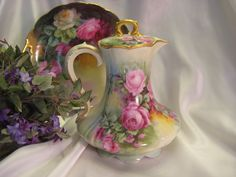 Image detail for -Victorian Era Antique hand painted Limoges France Chocolate Pot ...